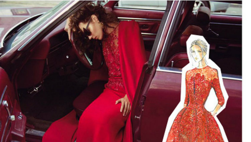 elie saab book ELIE SAAB BOOK BY JANIE SAMET elie saab red dress haute couture croquis 1