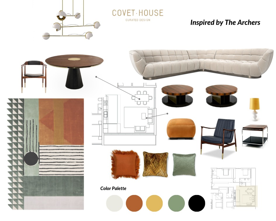Mid-Century Moodboard Inspired By The Archers' Style  the archers Mid-Century Moodboard Inspired By The Archers' Style  mid century moodboard inspired archers style 1